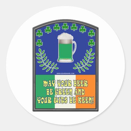 Irish Green Beer Toast Classic Round Sticker