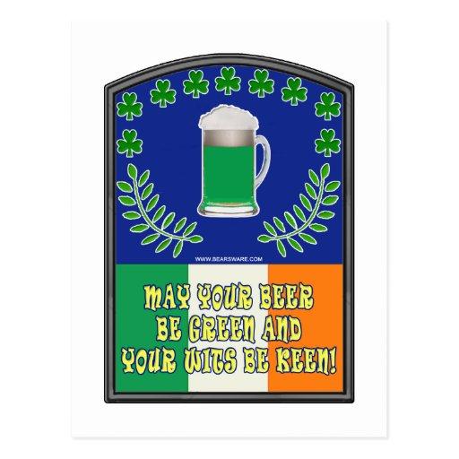 Irish Green Beer Toast Postcard