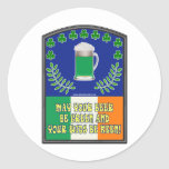 Irish Green Beer Toast Round Sticker