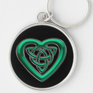 Irish Green Celtic Heart Knot Keychain