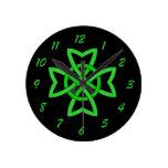 Irish Green Celtic Knot Clocks