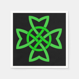 Irish Green Celtic Knot Standard Cocktail Napkin