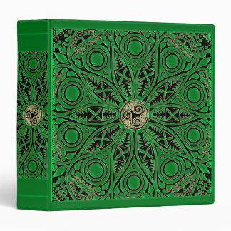 irish Green Celtic Triskele Mandala 3 Ring Binder