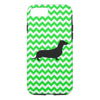 Irish Green Chevron with Dachshund iPhone 7 Case