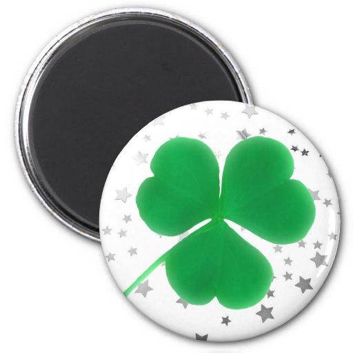 Irish Green Clover Shiny Stars St. Paddy's Day Fridge Magnet