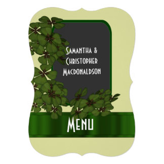 Irish green, cream and shamrock wedding menu invitations