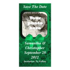 Irish Green Damask Save The Date Wedding Card at Zazzle