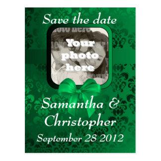 Irish green damask save the date wedding invite postcard