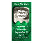 Irish green damask save the date wedding customized photo card