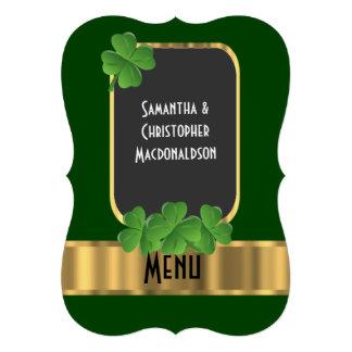 Irish green, gold and shamrock wedding menu personalized announcements