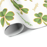 Irish green, gold clover St. Patrick's Day Wrapping Paper
