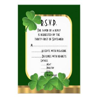 Irish green, gold shamrock wedding R.S.V.P Invitation