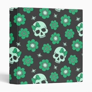 Irish Green Goth Skulls 3 Ring Binder