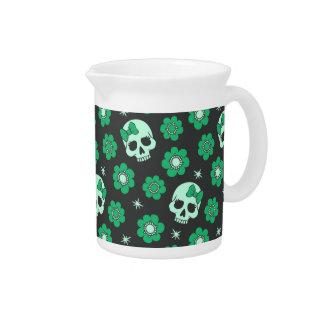 Irish Green Goth Skulls Beverage Pitcher
