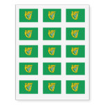 Irish Green Harp Flag St. Patrick's Day Temporary Tattoos