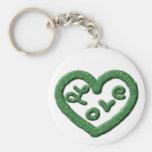 Irish Green Heart with Love Key Chains