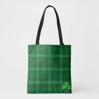 Irish Green Plaid With Shamrock Tote Bag