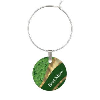 Irish green shamrock best mom wine glass charms