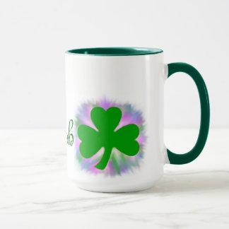 Irish, green shamrock clover mug