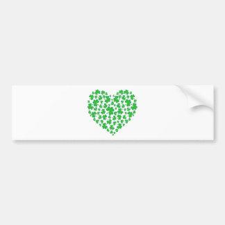 Irish Green Shamrock Heart Bumper Sticker