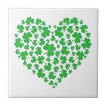 Irish Green Shamrock Heart Ceramic Tiles