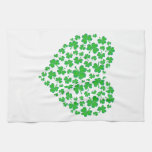 Irish Green Shamrock Heart Hand Towel
