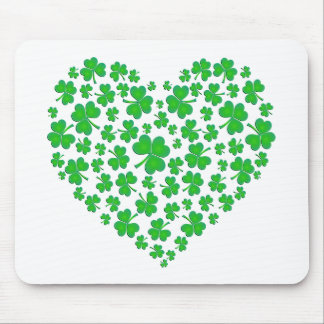 Irish Green Shamrock Heart Mouse Pad