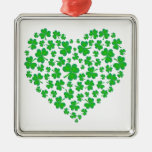 Irish Green Shamrock Heart Christmas Tree Ornaments