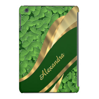 Irish green shamrock pattern personalized iPad mini retina cases
