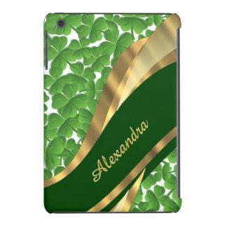 Irish green shamrock pattern personalized iPad mini retina covers