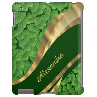 Irish green shamrock pattern personalized