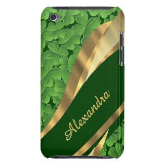 Irish green shamrock pattern personalized Case-Mate iPod touch case