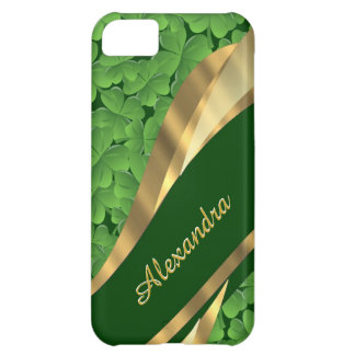 Irish green shamrock pattern personalized cover for iPhone 5C