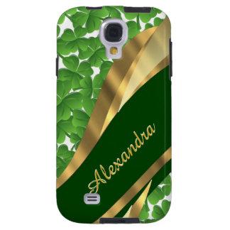 Irish green shamrock pattern personalized galaxy s4 case