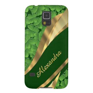 Irish green shamrock pattern personalized galaxy s5 cover