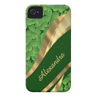 Irish green shamrock pattern personalized iPhone 4 case