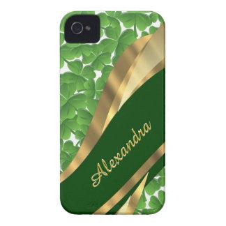 Irish green shamrock pattern personalized iPhone 4 cover