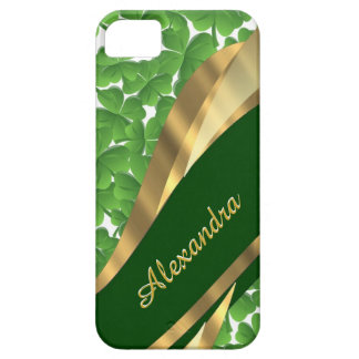 Irish green shamrock pattern personalized iPhone SE/5/5s case