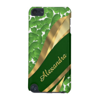 Irish green shamrock pattern personalized iPod touch (5th generation) cover