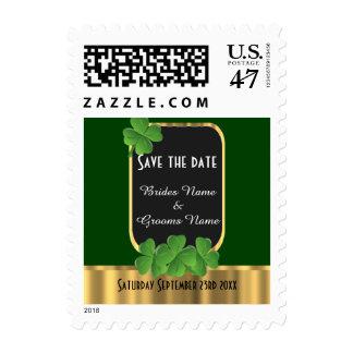 Irish green shamrock save the date postage