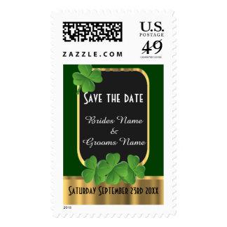 Irish green shamrock save the date postage stamp