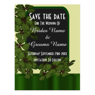 Irish green shamrock  save the date postcard