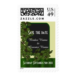 Irish green shamrock save the date stamp
