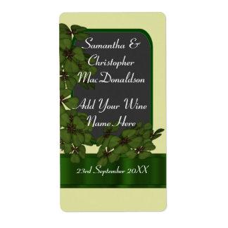 Irish green shamrock wedding wine bottle label