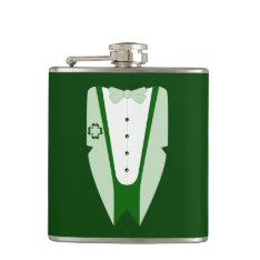 Irish Green Tuxedo Jacket Shirt Bow Tie Hip Flask at Zazzle