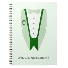 Irish Green Tuxedo Jacket Shirt Bow Tie Notebook at Zazzle