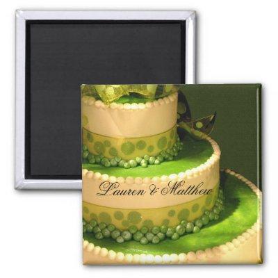 Irish Green Wedding Cake decoration Fridge Magnets by perfectpostage