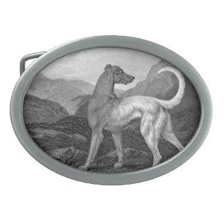 Irish Greyhound Dog Oval Belt Buckle