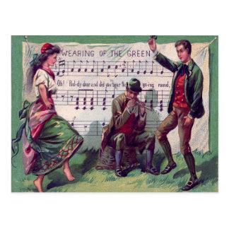 Irish Gypsy Wearing of The Green Jig Postcard