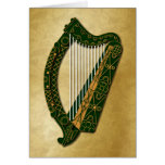 Irish Harp & Blessing - 4 Card